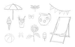 Hand drawn lineart summer vacation set Royalty Free Stock Photos