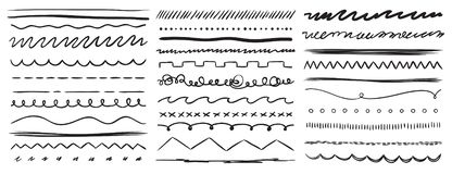 Free Hand Drawn Lines. Marker Line Divider, Handmade Pencil Strokes Brush And Drawing Dividers Vector Elements Set Stock Photography - 144325082