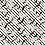 Hand drawn lines seamless grungy pattern. Abstract geometric repeating tile texture. In black and white Royalty Free Stock Image