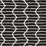 Hand drawn lines seamless grungy pattern. Abstract geometric repeating tile texture. In black and white Stock Photography