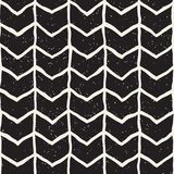 Hand drawn lines seamless grungy pattern. Abstract geometric repeating tile texture. In black and white Royalty Free Stock Photography