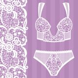 Hand drawn lingerie. Panty and bra set. Vector illustration Royalty Free Stock Photo