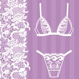 Hand drawn lingerie. Panty and bra set. Vector illustration Stock Photos