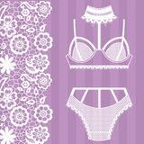 Hand drawn lingerie. Panty and bra set. Vector illustration Royalty Free Stock Photos