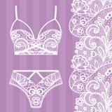 Hand drawn lingerie. Panty and bra set. Vector illustration royalty free illustration