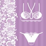 Hand drawn lingerie. Panty and bra set. Vector illustration Stock Photo