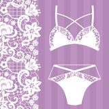 Hand drawn lingerie. Panty and bra set. Vector illustration Royalty Free Stock Photography