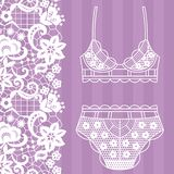 Hand drawn lingerie. Panty and bra set. Vector illustration Royalty Free Stock Images
