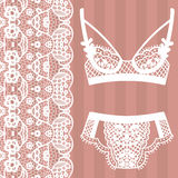 Hand drawn lingerie. Panty and bra set. Royalty Free Stock Images