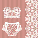 Hand drawn lingerie. Panty and bra set. Stock Images