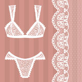 Hand drawn lingerie. Panty and bra set. Stock Photography