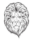 Hand drawn lion head isolated over white background vector illustration. Flash tattoo or print design Royalty Free Stock Images