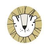 Hand drawn lion. Nursery poster in scandinavian style. Color  illustration. Hand drawn lion. Nursery poster in scandinavian style. Colore  illustration Stock Photos