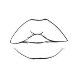 Hand drawn lips, colored lips isolated. Vector fashion illustration. Hand drawn lips isolated. Vector fashion illustration. Hand drawn. Comics story Stock Photo