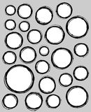 Hand-drawn liquid line circle shape collection over gray Royalty Free Stock Photography