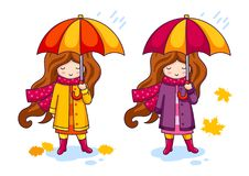Hand drawn little girl with colorful umbrella and a big knitted scarf. stock illustration