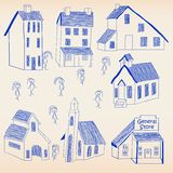 Hand Drawn Little Town Icon Set Stock Photos