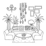 Hand drawn living room for design element and coloring book page. Vector illustration stock illustration