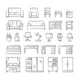 Hand drawn living room furniture icons on white background. Outline modern furniture illustration vector Royalty Free Stock Images