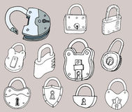 Hand drawn locks icon set Royalty Free Stock Photos