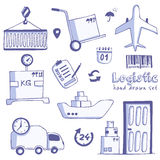 Hand drawn logistics and delivery sketch icons set Stock Photos