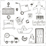 Hand drawn logistics and delivery sketch icons set Stock Image