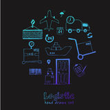 Hand drawn logistics and delivery sketch icons set Royalty Free Stock Photo