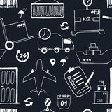 Hand drawn logistics and delivery sketch seamless pattern Royalty Free Stock Photo