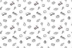 Hand drawn logistics seamless pattern. Stock Photo