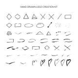 Hand drawn logo creation kit. Stock Photos