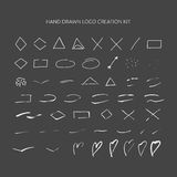 Hand drawn logo creation kit. Royalty Free Stock Images