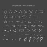 Hand drawn logo creation kit. Royalty Free Stock Photos