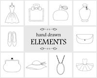 Hand drawn logo elements and icons Stock Photos