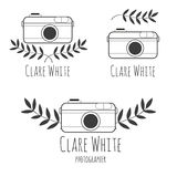 Hand drawn logo  for photographer with camera. Nature brunch, Black and white style Royalty Free Stock Photo