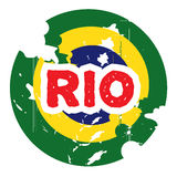 Hand drawn logo for Rio. Hand drawn yellow, green, blue logo for Rio Stock Photos
