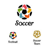 Hand drawn logo with a soccer ball with hands Stock Photography