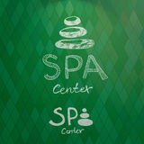 Hand drawn logo of spa center made from stacked white stones Royalty Free Stock Photography