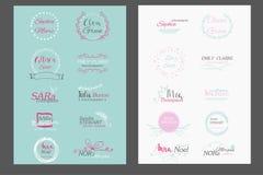 Hand drawn logo templates collection. stock illustration