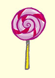 Hand drawn Lollipop Doodle. Isolated on a yellow background. A lollipop, on an isolated yellow background, done in hand drawn process. vector and jpg stock illustration