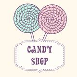 Hand drawn lollipop with label Royalty Free Stock Photos