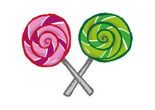 Hand drawn Lollipops in X formation. Two lollipop candies crossing each other via the stick. vector and jpg stock illustration