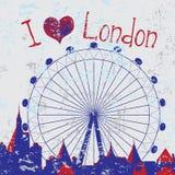 Hand drawn London city with wheel. Hand drawn London city card with wheel with text Royalty Free Stock Image