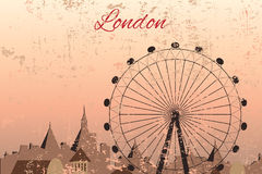 Hand drawn London city with wheel. In the everning Stock Photo