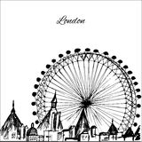 Hand drawn London city with wheel. On white background Royalty Free Stock Photo