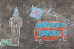 Hand-drawn London doodles set with colorful chalks Stock Photos