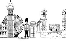 Hand-drawn London England cityscape stock illustration
