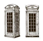 Hand drawn London phone booth. Sketch vector illustration royalty free illustration