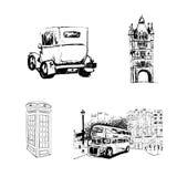 Hand drawn of London set. Stock Photo