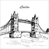 Hand drawn London Tower Bridge. Hand drawn black London Tower Bridge Stock Photo