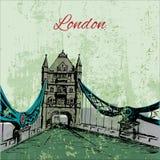 Hand drawn London Tower Bridge. Hand drawn grunge London Tower Bridge Stock Photo